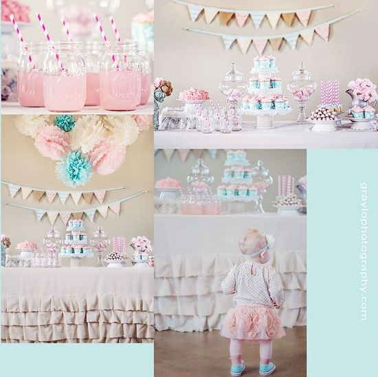 Lola's first birthday party!  girls birthday party ideas. vintage themed birthday.  turquoise and pink party.  mason jar | http://sweetpartygoods.blogspot.com