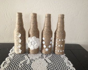Green and Twine Wrapped Bottles Set of 4 Home Decor by OrangeCreek