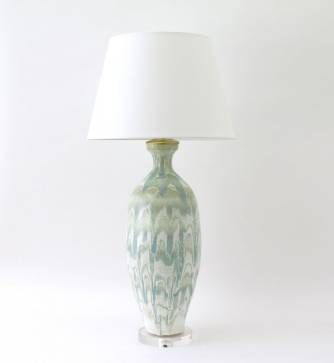 Paul schneider elizabeth multi banded drip celadon lamp with brass dimmer socket and acrylic base price per lamp additional glazes available pricing varies