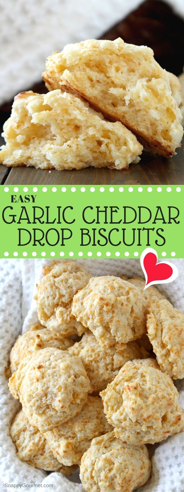 GARLIC CHEDDAR DROP BISCUITS - easy homemade biscuit recipe and from scratch copycat Red Lobster biscuits! SnappyGourmet.com #Recipe #Bread #Biscuits #Copycat
