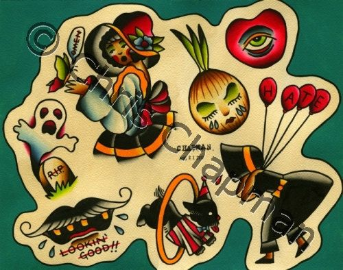 Dogs n Bonnets n Ghosts Tattoo Flash. $50.00, via Etsy.