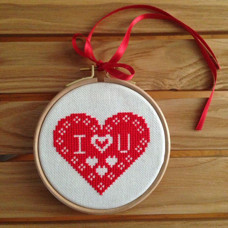 Love, crossstitch , kanaviçe , çarpı işi , february