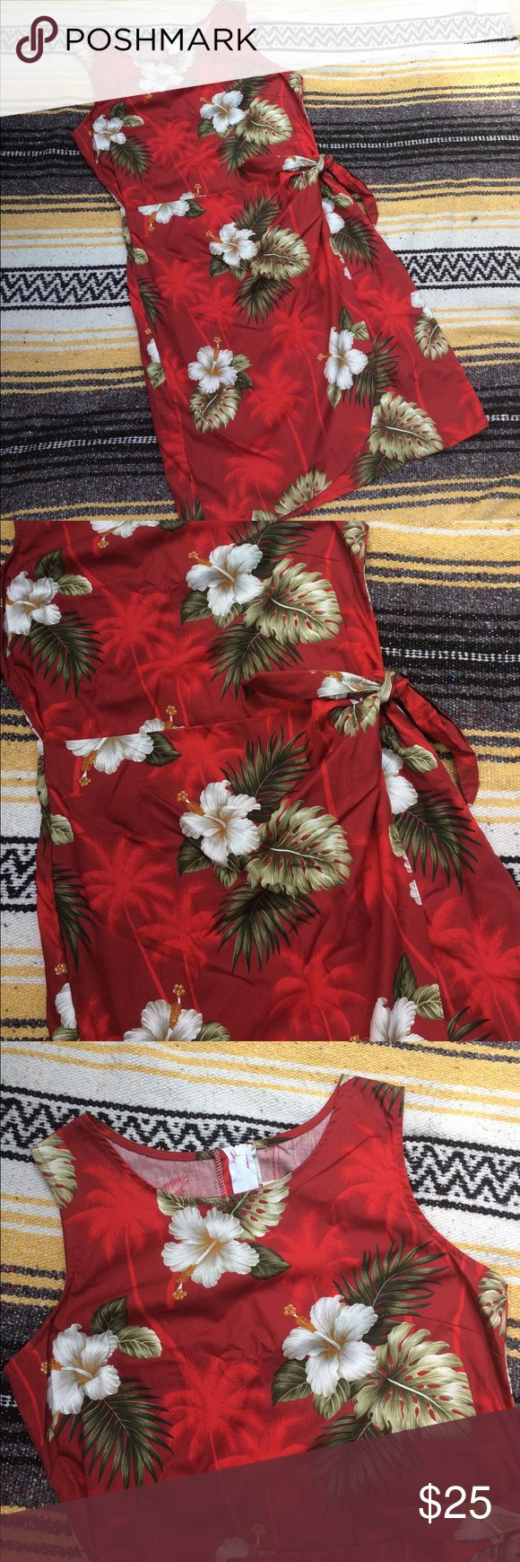"""Vintage Red Hawaiian Dress Tropical Hawaiian style vintage dress. This appears to have never been worn! It still has s price tag sticker on the tag. Faux wrap skirt/ apron on the front, zip up back. 100% cotton. Made in Hawaii, USA 🇺🇸 ☕️️ flat measurements ☕️️ bust: 19"""" // length: 28"""" // waist: 16"""" // size M Vintage Dresses Midi"""