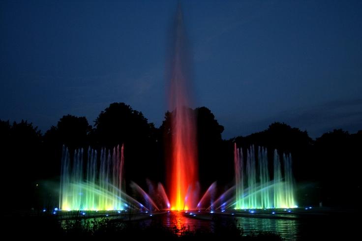 Hamburg Parksee in Planten un Blomen. in de zomer verlichte fonteinen vanaf 22.00 uur met muziek