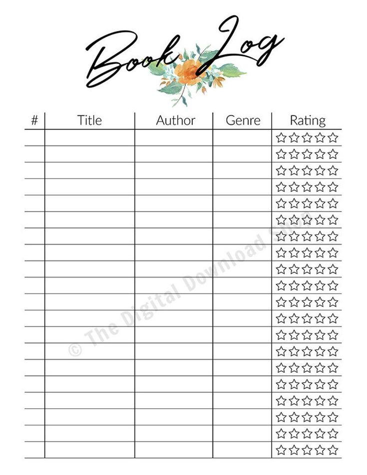 Reading Tracker Printable Book Log Printable Book Tracker ...