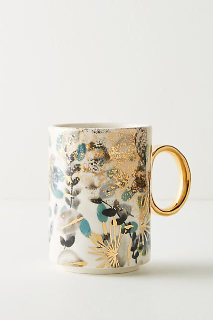 This mug is stunning. I've never seen such a beautiful design on such a simple item before. Gilded botany mug