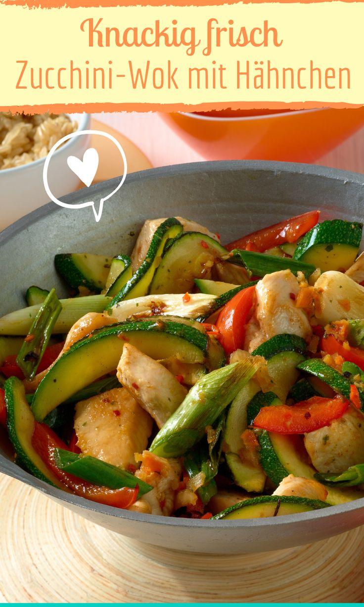 Zucchini-Wok mit Hähnchen und knackigem Gemüse