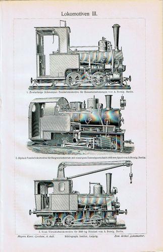 Antique Print Cho-ChoTrains-Locomotives-Lokomotiven Germany Meyers 1905 $9.99