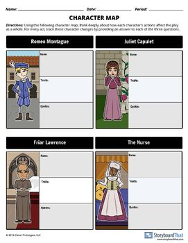 Romeo and Juliet - Tragic Hero, Plot, Quiz, Guided Notes a
