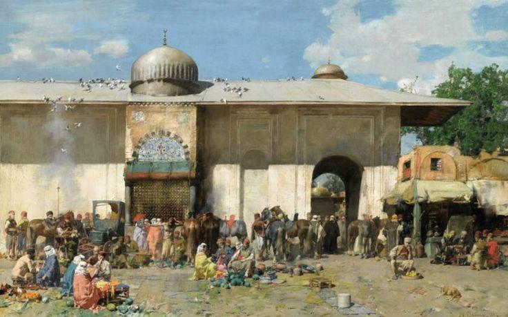 İstanbul'un resmi bile altın! Londra'daki Sotheby's Müzayede Salonu'nda oryantalist eserlerin satışa çıkarıldığı açık artırmada, 19. yüzyıl Türkiye'sini yansıtan 3 tablo toplam 3 milyon liraya alıcı buldu  KİMLİK KARTI:  RESSAM: Alberto Pasini (1826-1899) RESMİN ADI: Pazar YAPILIŞ TARİHİ: 1883 TÜR: Yağlıboya FİYATI: 1 milyon 341 bin TL