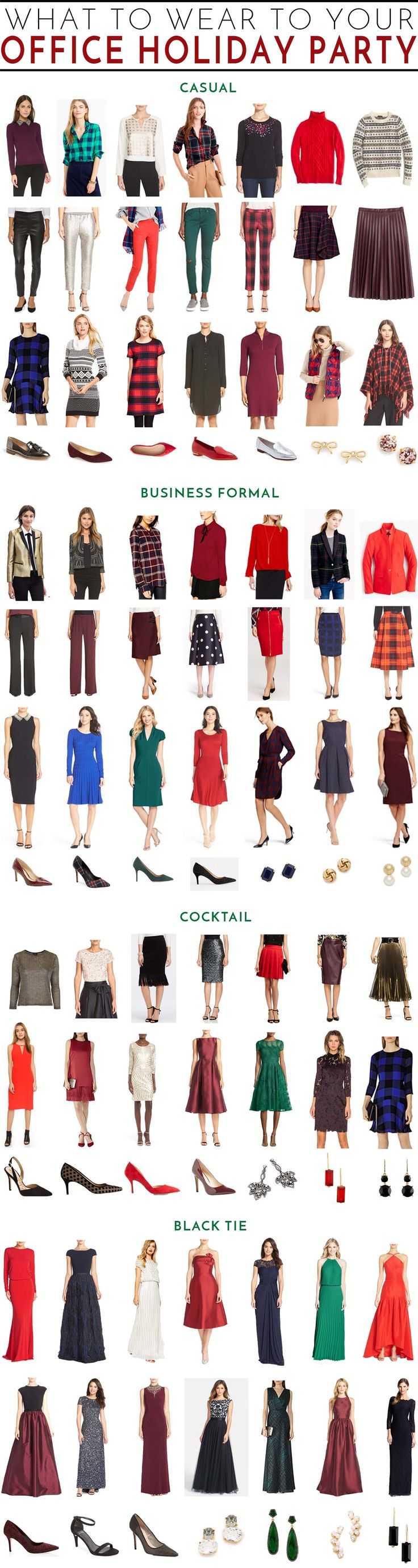 What to Wear to Your Work Holiday Party | the complete guide to festive office attire for casual, business formal, cocktail or black tie business events