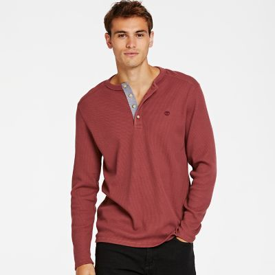 Timberland Men's Wharf River Waffle Henley Shirt Sable Brown