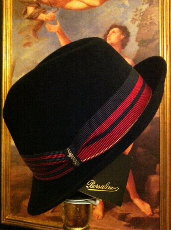 Borsalino hat from Rome, Italy.  It was rainy in Europe and this was a honeymoon souvenir from Alex.