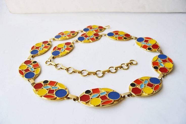chain belt,cinturón de metal dorado colorido,talla 85/34,ancho 3,5 cm-1 1/2 inches