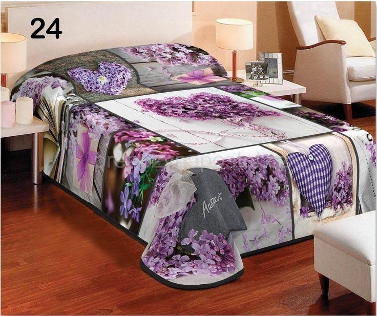 Fialové přehozy na postele s fialovými květy a srdcem