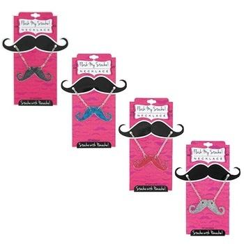 $7.99 - Flash My Stache! Assorted Glitter-Blazen Mustache Fashion Pendants