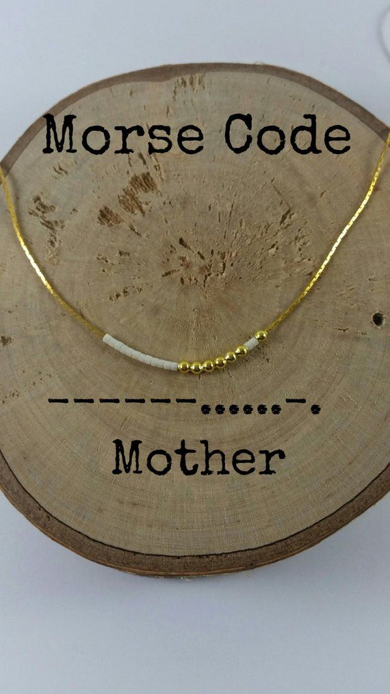 MOTHER Morse Code Necklaces, Secret Message, Dainty necklace, Minimalist, Morse code jewelry, gold necklace, mother gift, mom gift, mum gift