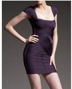 Double purple black bandage dress BL00753