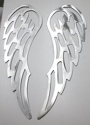 "Pair Lot of 2 ANGEL WINGS 12"" Brushed Finish Metal Wall Art Stencil Craft"