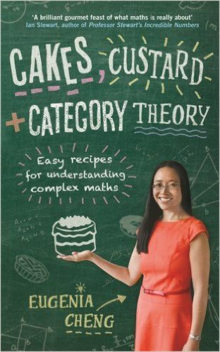 Cakes, custard and category theory : easy recipes for understanding complex maths / Eugenia Cheng. 2015. Máis información: https://profilebooks.com/cakes-custard-and-category-theory.html