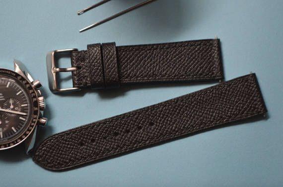 c7ba40485 Custom All Black Epsom leather watch strap, 18mm, 19mm, 20mm, 21mm, 22mm,  23mm, 24mm. in 2019 | Products | Leather, Watches, All black