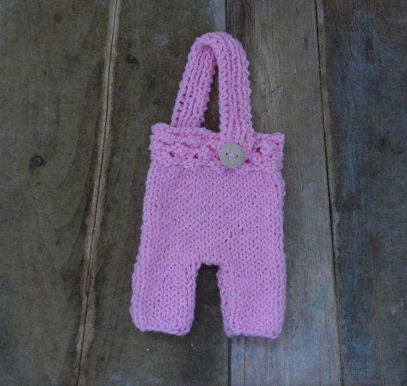 Pink Newborn Suspender Pants/ BabyPink Knit by GabriCollection