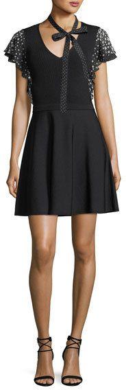 RED Valentino Stardust-Print Short-Sleeve V-Neck Knit Dress
