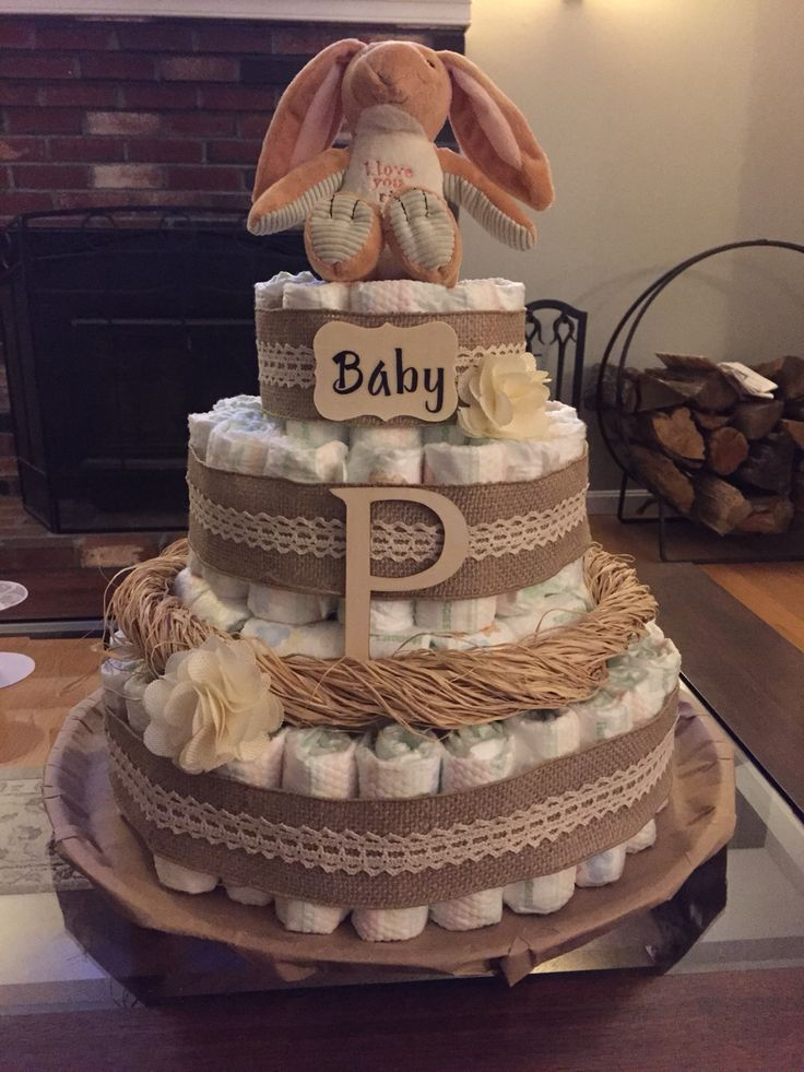 Rustic Diaper Cake Fall Baby Shower Cake Baby Shower