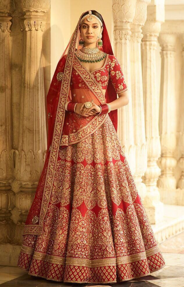 7fcbce88ca Beautifully Embroidered Red Silk Indian Bridal Lehenga Cholis in ...