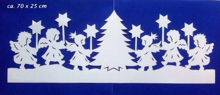 Fensterbild Tonkarton Bandornament Engel Sterne Baum Advent Weihnachten Winter