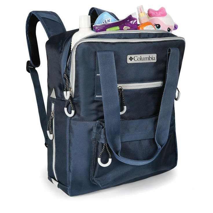 Always ready to go at a moment's notice when you carry your baby's necessities in the Columbia Crosslight™ Convertible Tote/Backpack Diaper Bag. This 2-in-1 Backpack/Tote diaper bag features a wide mouth opening to the main compartment with multiple organizer pockets including a designated pacifier pocket. The large secondary compartment offers two large zippered pockets, 1 large mesh pocket and two elasticized pockets for all your storage needs. Two exterior side ...