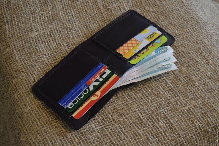 Купить мужской кожаный кошелек - однотонный, мужской кошелек, мужской кошелек из кожи, черная кожа