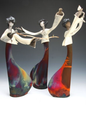 Judy Geerts wonderfully controlled contrast in raku pottery.