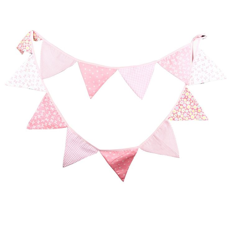 12 Flags 3.2m Handmade Colorful Cotton Fabric Bunting Pennant Flag Banner Garland Wedding/Baby Birthday/Home Party Decoration