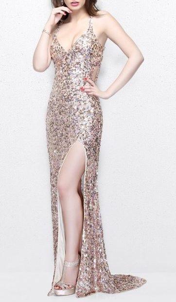 Primavera Couture - Vibrant Sequined Spaghetti Strapped Gown 9877