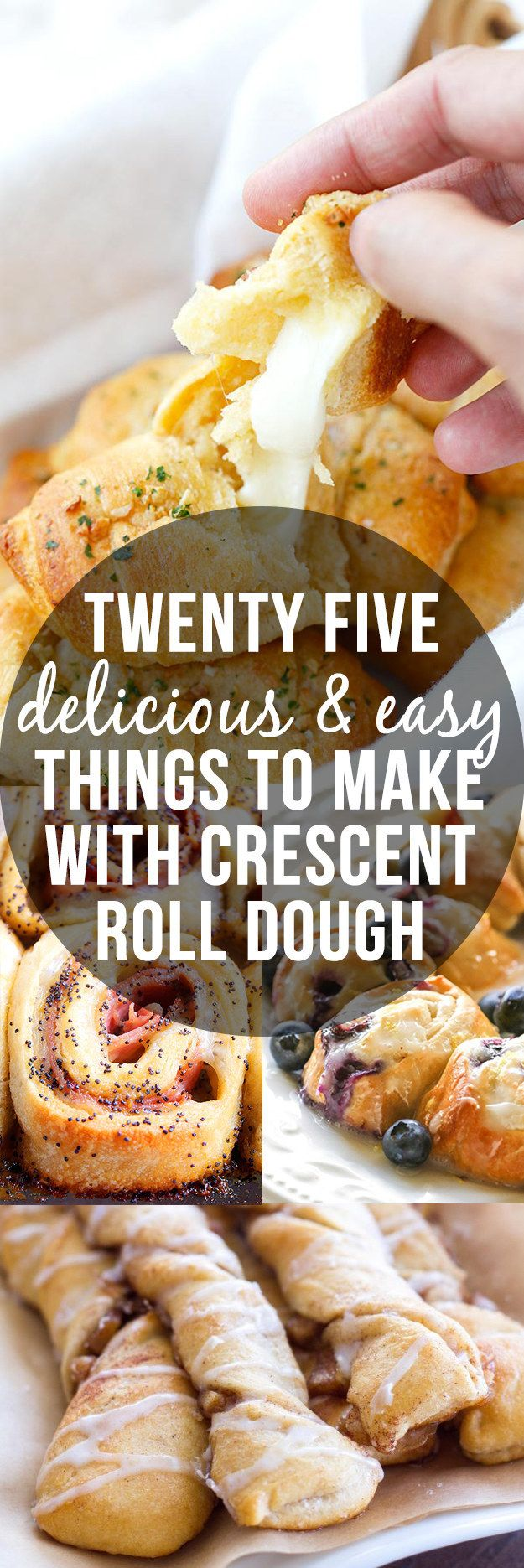 25 delicious and easy recipes to make with crescent roll dough! These snacks and desserts are way too easy to make and come out of the over as divine as ever.