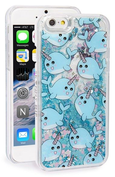 Skinnydip 'Narwhal' Glitter Liquid iPhone 6 & 6s Case