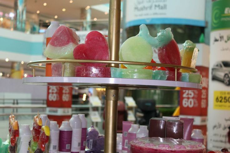The creative shapes of soaps and loofahs were  standing out at  lesoie's celebration of international women day at mushrif mall in Abdu-Dhabi, UAE