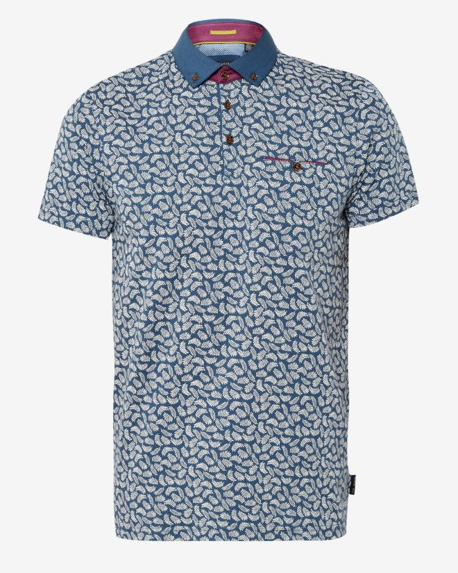 Leaf print cotton polo shirt - Mid Blue Tops & T-shirts Ted Baker