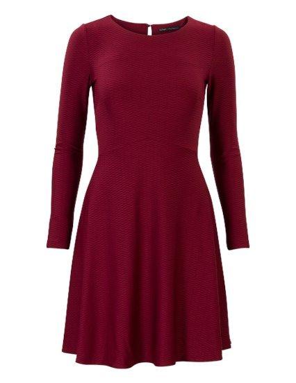 Soepele a-lijn jurk met lange mouwen Rood