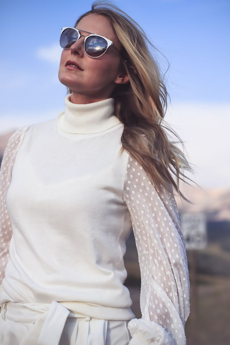 white boots, how to wear white boots, fashion blogger, erin busbee of busbee style from telluride, colorado shows us three outfit ideas, wearing vince camuto white turtleneck, parker white pants, white boots by Dolce Vita and a chloe nile bag