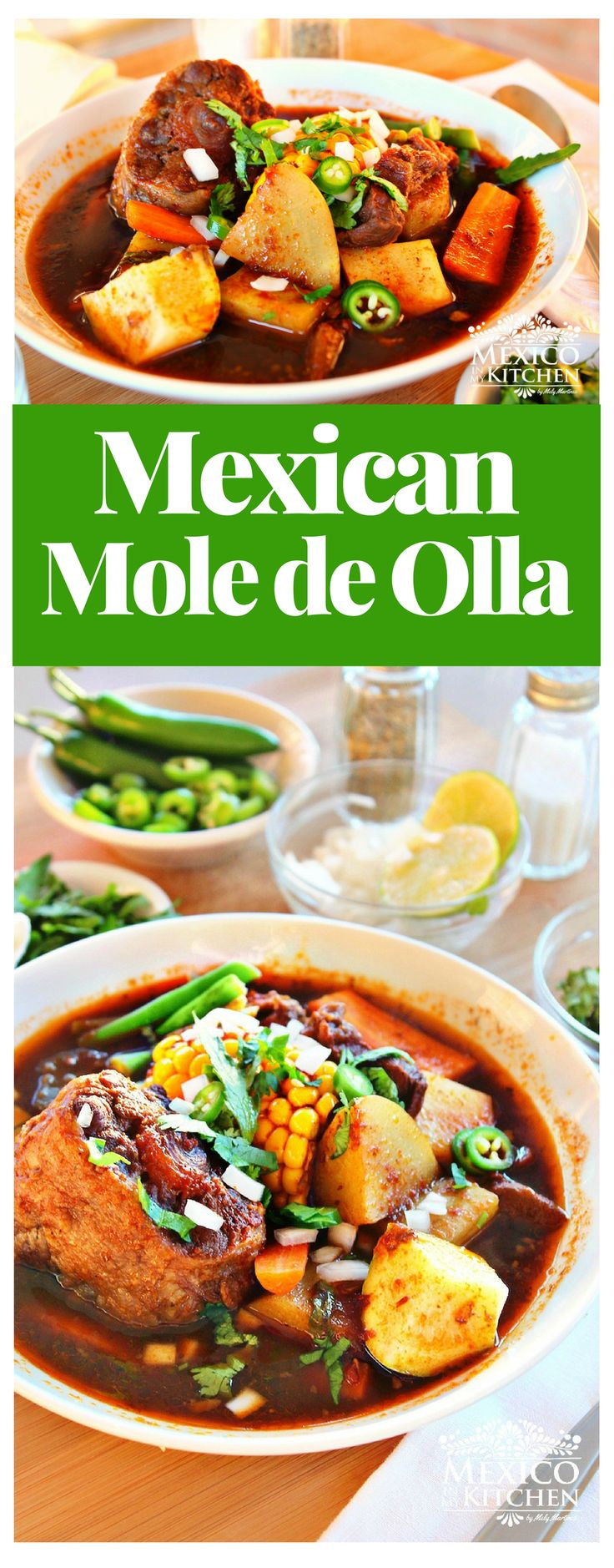 Mole de Olla is a rich soup with a little bit of moleflavor. It has many variations across the country, but is more popular in thecentral states of Mexico, where it is a common main dish in the mid-afternoon. #beef #mexicanrecipes #soups #mole #mexicandoad #mexicancuisine