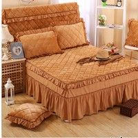 Wish   Cotton Solid Color Lace bedskirt Korean Princess Style Bed Skirt (not contain pillowcase) 120x200 / 150x200 / 180x200 /180x220/ 200x220 cm