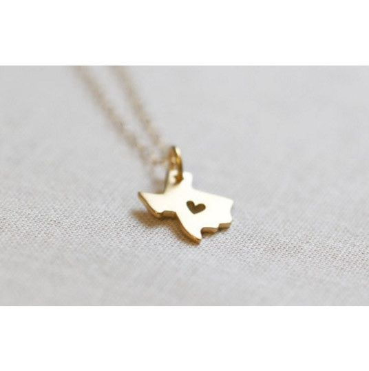 Texas Map Heart Pendant Necklace