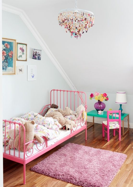 ikea minnen bed repainted pink! Must remember to paint ours when we get sick of black!