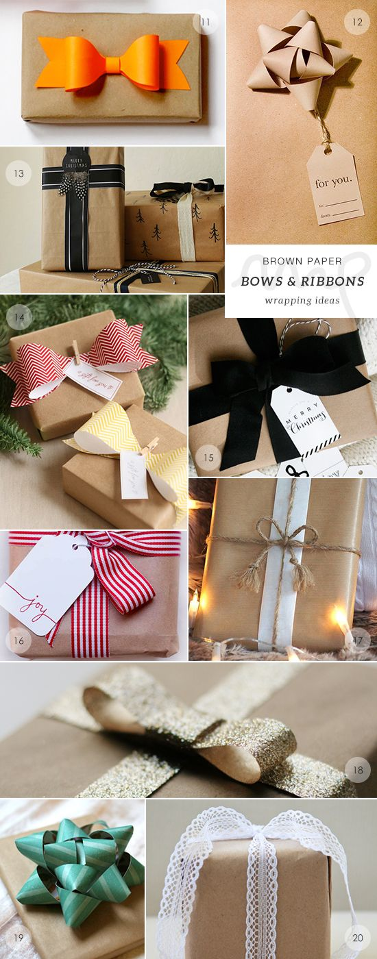 40 brown paper gift wrapping ideas picks by My Paradissi- bows and ribbons