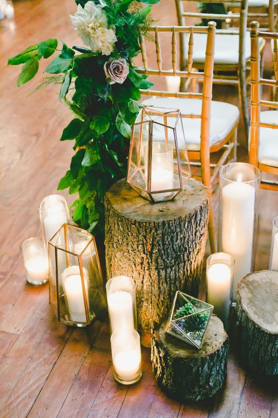 Rustic + candle accented wedding decor / http://www.himisspuff.com/geometric-terrarium-wedding-ideas/3/