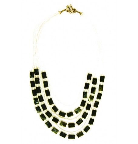 This 6 strand fun cascade necklace of seed beads and acrylic stone chiclets accents any outfit. $22
