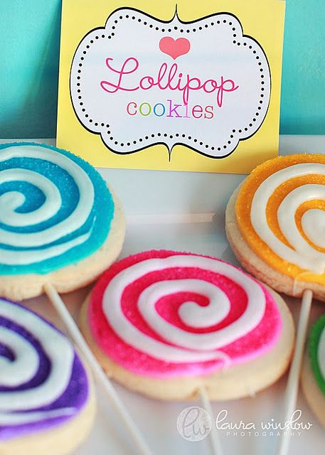 easy & cute- sugar cookie lollipops. You could use store-bought cookies if you were so inclined.
