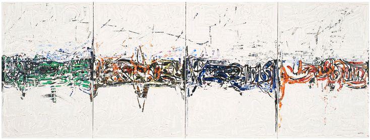 Jean Paul Riopelle, Piroche, 1976, huile sur toile, 203,3 x 549 cm, quadriptyque